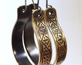 Hoop Earrings, Art Deco Etched Brass
