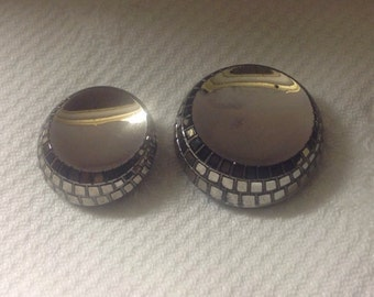 Old Black Glass Buttons with Silver Luster - Art Deco - Mother and Daughter Buttons