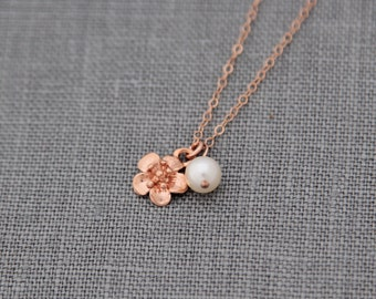 Rose Gold Flower Necklace, Rose Gold and Pearl Wedding Jewelry, Pink Gold Cherry Blossom Necklace, Spring Jewelry