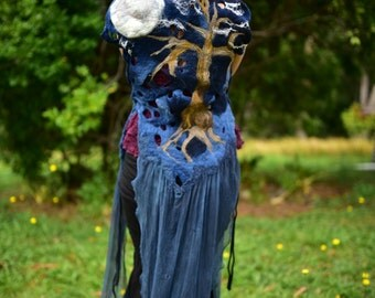Felt Full Moon Vest-Full Moon Top-Moon Clothing-Witches Gown-Felt Vest-Witch Costume-Fantasy Costume-Tree Top-Tree Vest-Wearable Art OOAK