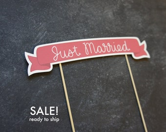 SAMPLE SALE - 50% off - Ready to Ship Cake Banner No. 3 - Just Married | Wedding Cake Topper | Sale | Cake Banner | Paper Cake Topper