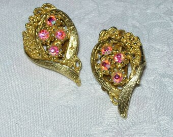 Vintage Rhinestone Earrings - Clip Ons