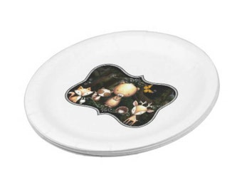 NEW Paper Plates, Dessert Plates, Enchanted Woodland Whimsy, Custom, 16-count