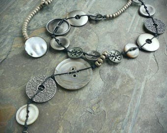 Gray Mother of Pearl and Metal Button Necklace