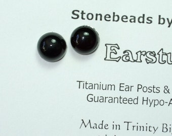 Shiny Black Onyx 8mm Round Stud Earrings Titanium Post and Clutch Hypo Allergenic Earings Handmade in Newfoundland Chalcedony
