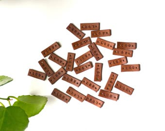 Custom Stained Leather Labels, 3/8'' wide, 6 letters or less,  4 OZ  stamped leather tag, embossed labels, create your own labels