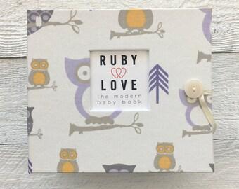 Lavender Owls   BABY BOOK