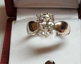 Gorgeous VINTAGE Sterling Silver Wedding Engagement Ring with Large 7CT  Cubic Zirconia 16mm X 10mm Strong Ring 1970s Quality Size 9