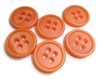 Tangerine Vintage Buttons - 6 Mid Century Plastic Sew Through Your Choice of Sizes for Jewelry Beads Sewing Knitting