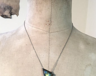 Northern Lights no. 2, with path setting …Labradorite in sterling silver necklace