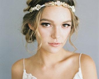 "Ombre blush beaded wedding headpiece ""Piper"""