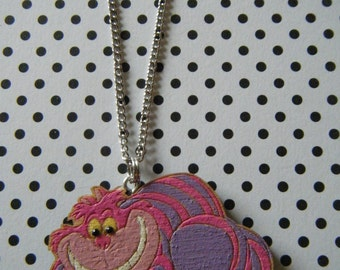 Cheshire cat hand painted and embellished wooden charm pendant necklace