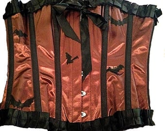 Copper Satin Bat Corset Waist Trainer with Black Satin Ruffles and Bow, Steel Boned, Hand painted Bats