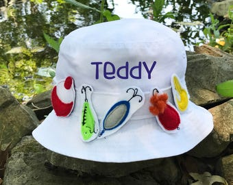 Boys Fishing Hat - Personalized Hat - Fishing Sun Hat - Fishing Lure Hat - Bucket Hat - Baby - Toddler - Fishing Birthday Hat -Fishing Buddy