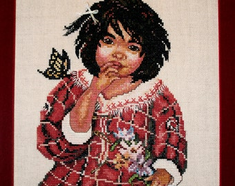 Cross Stitch Pattern, The Surprise, Native American Girl, Cultural Needlework, Southwestern, Something In Common, Sandy Austin Stein