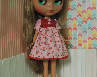 Pink Cherry Dress for Blythe, puffy sleeves