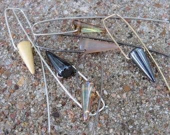 En Pointe - minimalist Czech glass spike bead earrings on sterling, oxidized sterling or 14K gold filled wires - ready to ship