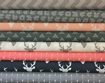 You, Choose, 5, Custom, Grey, Gray, Coral, Navy, Pink, Bundle, Buck, Forest, Fabrics, Modern, Rustic, Chevron, Arrows, Custom, Cuts