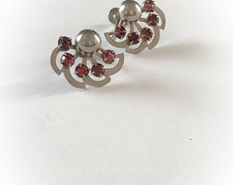 Vintage Silver Tone Metal Leaf Fan and Pink Rhinestones Earrings Screw Backs