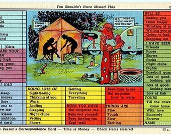 Vintage Vacation Postcard - Camping ... Busy Person's Correspondence Card (Unused)