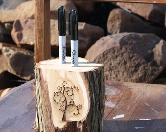 Rustic Wedding Decor, Pen, Marker Holder, tree stump, 2 holes, laser personalized, for rustic, outdoor, barn, garden wedding, party, event