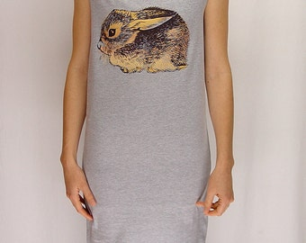 Baby Cottontail Rabbit tshirt dress - eco friendly gold and brown ink screenprint on grey cotton - sizes S, M, L