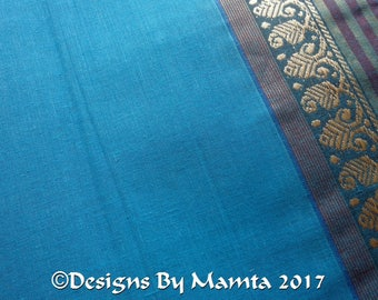 Saree Fabric By The Yard, Turquoise Blue Cotton Sari Fabric, Indian Cotton Fabric, Indian Sari Fabric, Ethnic Fabric, Border Print Fabric