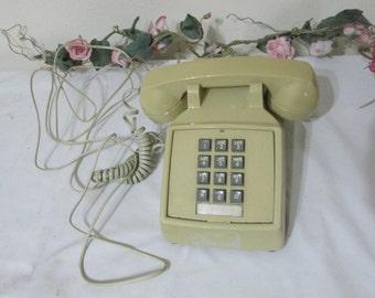 Telephone Push Button Gold ITT Desk Retro Decor