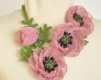 The Friends - Pink - Handmade Poppy Flower Crochet Leaf Bib Necklace /Belt