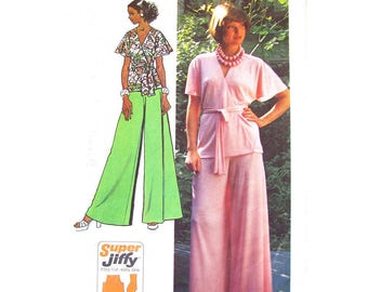 1970s Wrap Top & Palazzo Pants Pattern Simplicity 5574 Flutter Sleeve Blouse Wide Trousers Womens Bust 38 UNCUT Vintage Sewing Pattern