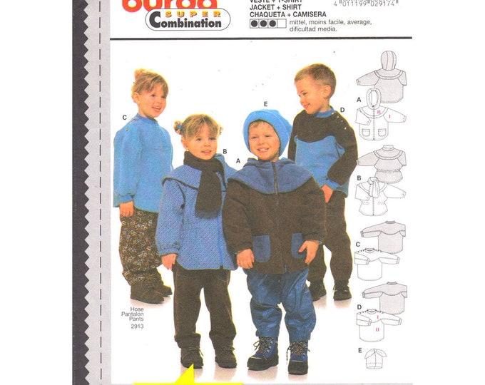 Kids Jacket Pattern Burda 2917 Loose Coat or Pullover Fleece Top Boys or Girls Size 2 3 4 5 6 7