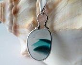 English Multi Sea Glass Necklace Pendant - Genuine End of Day Seaglass & Sterling Silver Chain - EVERGREEN