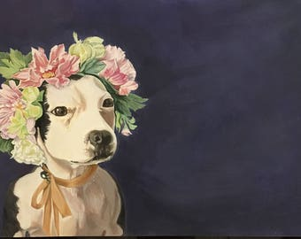 """5 x 7 dog Greeting Card """"Queen of EVERYTHING!"""""""