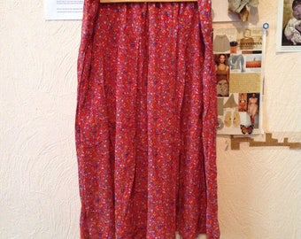 Vintage Red Skirt Floral Midi Skirt M Medium