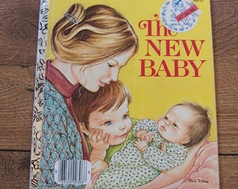 vintage 1975 little golden book The New Baby children girl boy picture book