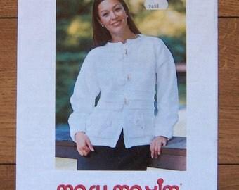 Mary maxim knitting pattern 7058-9N misses women white elegance cardigan sz 30-32,34-36,38-40,42-44