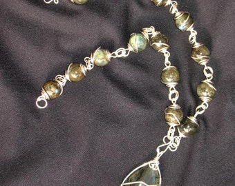 Sterling Silver and Labradorite~Hand Made Statement Piece Necklace~Wire wrap