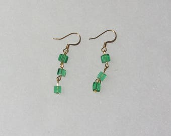 Beaded Earrings, Grass Green Glass 4mm Cubes, Moderate Length, Costume Jewelry