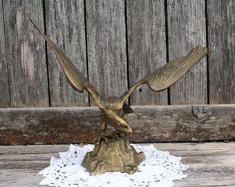 Beautiful Vintage Brass Eagle On Top Of Rock / American Bald Eagle