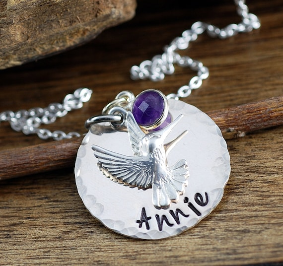Hummingbird Necklace, Personalized Name Necklace, Hummingbird Jewelry, Inspirational Jewelry, Gift for Daughter, Mothers Day, Charm Necklace