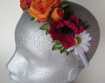 Orange/red flower tiara, rose, anemone, daisy satin band, silk flower hair, bridal flower headpiece, flower girl hair accessories