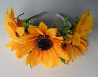 Sunflowers on white satin band, festival hair, flower headpiece, flower girl hair