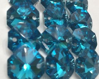 12 Aqua Iridescent 14mm 2-Hole Chandelier Crystals Connectors (S-PB)