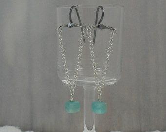 Peruvian Opal Earrings,Peruvian Opal Chain Earrings,Aqua Stone Earrings,Blue Peru Opal Chain Earrings,Aqua Stone Swing Earrings,lle648