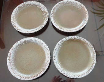 70s Laurentian Pottery Frosted Edge Lava 4 Bread Plates