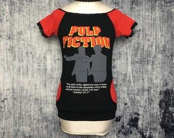 Pulp Fiction Women's T-Shirt // Off Shoulder Reconstructed T-Shirt // Size Small // Horror Alternative Goth Pumpkin Orange Black