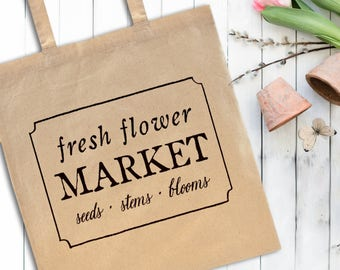 Flower Market Tote Bag | Shabby Chic Purse, Farmhouse Bag, Market Bag, Southern Tote Bag, Flea Market Bag, Cottage Decor, Cottage Tote Bag