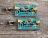 Luggage Tag Set Adventure is out there Vintage Map Metal Luggage Tag Set With Printed Custom Info On Back, 2 Tags Choice of Straps