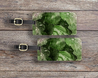 Luggage Tags Geode Set ,  Personalized Metal Tags, 2 Tags Custom information on Backs Choice of Straps Version 2