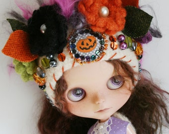 Blythe Halloween OOAK Hat - Special Edition -  Gnome Helmet for Blythe - Floral Collage -  Wacky Halloween